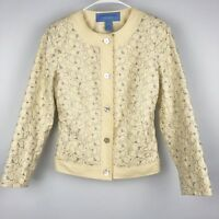 Doncaster Sport Soft Yellow Embroidered Floral Women Career Jacket Blazer Size 2