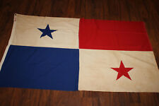 Original WW2 Era Panama National Multi Piece Sewn Cotton Flag, Size  3' x 5'