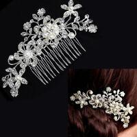 Crystal Rhinestones Pearls Bridal Wedding Flower Hair Clip Comb Accessories New