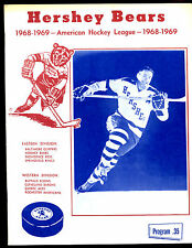 1968/1969 AHL Hockey Program Rochester Americans at Hershey Bears
