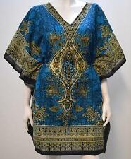 PLUS SIZE ABSTRACT PAISLEY FLORAL KAFTAN TOP TURQUOISE 20 22 24 26 28 30 32 34