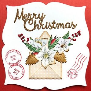 Handmade By Susie Christmas Rose Pine Cone Envelope Card Topper FLAT RATE UKP&P
