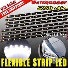 8X 6000K White Flexible LED Light 12SMD 30CM Car Motor Strip Bar Waterproof 12V