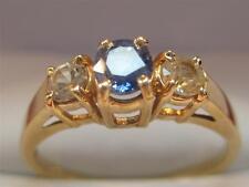 BEAUTIFUL 14KT SOLID GOLD CEYLON SAPPHIRE & WHITE SAPPHIRE  LADIES RING