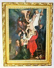 Alte religiöse Ölgemälde, Leinwand. Gemälde, Bild,  Eine besondere Vollholzrahmu
