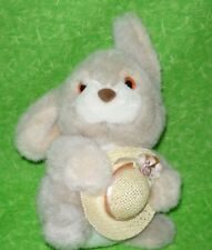 """Vintage Mary Meyer BUNNY WITH STRAW HAT Plush Stuffed Animal Toy Easter 8"""" tall"""