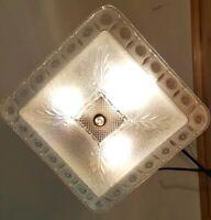 Antique/Vtg 1940's Art Deco Glass Light Fixture Chandelier w/ Gold Hardware