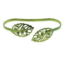 14k Yellow Gold Plated Leaf Filigree Bangle Bracelet With Swarovski Elements