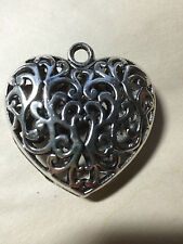 Antique Silver Jumbo Lace 3 D Heart Pendant Bead 50mm x 17mm