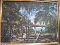 ancienne huile paysage africain signée