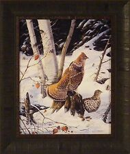 CEDAR SWAMP REFUGE by Terry Doughty 17x20 FRAMED PRINT PICTURE Grouse Snow Birds