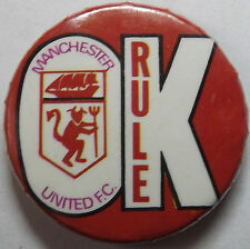 MANCHESTER UNITED Rule Vtg 70`s/80`s Button Pin Badge 32mm