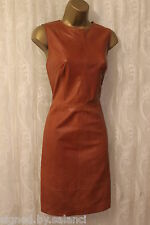 Karen Millen Tan Supple Leather Stitch Detail Sleeveless Shift Dress 16 44 £499