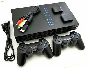 Sony PlayStation 2 PS2 Black Console Game System SCPH-50001 with 2 controllers