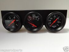 Black Steel Triple Gauge Kit Mechanical Oil Pressure Voltage Water Temperature 3