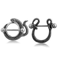 14G Stainless Steel Snake Bar Barbell Nipple Ring Body Piercing Jewelry  OF