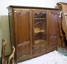 LOUIS XV STYLE FRENCH CARVED OAK COMBINATION STORAGE/DISPLAY CABINET (11712)