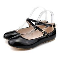 Women Closed Toe Buckle Ballet Flats Casual Ankle Strap Comfort Cross Strap Shoe