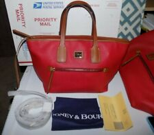 NEW NWT DOONEY & BOURKE JANIE RED PEBBLED LEATHER TOTE BAG CARRYALL 15X9X5 $248