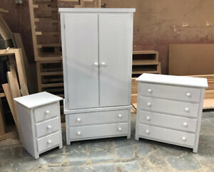 BURY SHAKER 3 PIECE BEDROOM SET IN WHITE ASSEMBLED Free Delivery 60 Miles