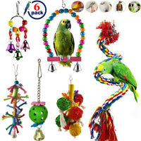 6 Pack Pet Birds Toys Set Swing Cage Parrot Hanging Perches Bells Climbing Rope