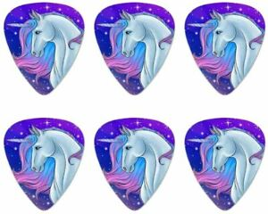 Unicorn Pink Purple Blue Novelty Guitar Picks Medium Gauge 6 pcs