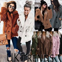 UK Womens Teddy Bear Oversized Coat Ladies Borg Peacoat Faux Fur Jacket Size8-14