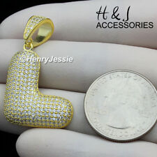 """MEN 925 STERLING SILVER ICED BLING GOLD BUBBLE INITIAL LETTER """"L"""" PENDANT*AGP203"""