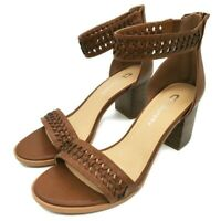 CL by Laundry Women's Size 7.5 Brown Weave Block Heel Zip Back Sandals
