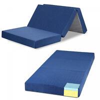 4 Tri Folding Memory Foam Mattress Single Bed Guest Bedroom Camping Dorm Beds