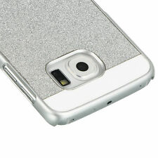 For Samsung Galaxy S6 Edge - Hard Snap On Protector Case Cover Silver Glitters