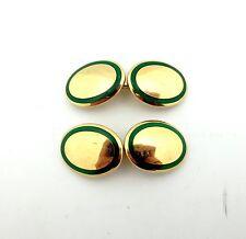 Authentic Tiffany & Co 18KT Yellow Gold  & Green Enamel  Gold Cufflink
