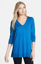 NWT Eileen Fisher Deep V-Neck Slim Merino Crystal Blue Tunic, Sz Small, $238