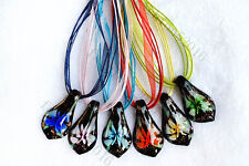 FREE Wholesale 6pcs Leaf Flower In Lampwork Glass Pendants Silk Necklace Jewelry