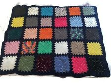 "Black Colorful Granny Square Afghan Throw Blanket Size 36""X47"""