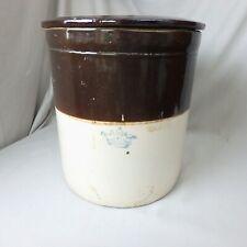 Vtg Robinson Ransbottom Crown Mark 6 Gallon Crock w/ Cover, Brown & White
