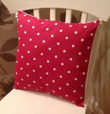 """Clarke and Clarke Shabby Chic Red Spot Dotty 16"""" Christmas Cushion Cover"""