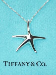 Tiffany & Co Sterling Silver Solid 28mm Starfish Elsa Peretti Chain Necklace