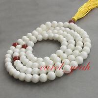 108 China tibet Buddhist White Tridacna Prayer Bead Mala Necklace Bracelet  6MM