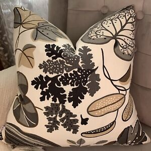 """IKEA Fabric Ann Wessblad Floral Cushion Cover 16"""" Grey White Beige Brown"""