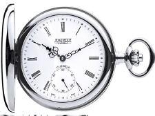 Pocket Watch Polished Half Hunter with 17 Jewel Mechanical Movement - Gift Box