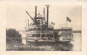 H46/ Savanna Illinois RPPC Postcard 1910 River Boats Steamboats Patriotic