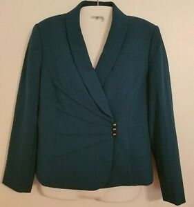 Tahari Arthur S Levine Blazer Jacket Petite 6 Mallard Green Solid Lined New