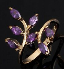 Fashion Size 6 Luxury Amethyst 18K Gold Filled Bridal Wedding Rings For Womens