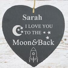 I Love You To The Moon Large Slate Heart Personalised Plaque SLA210-19
