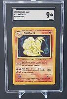 SGC 9 NINETALES 1999 Pokemon Base Unlimited #12/102 Holo Non-Shadowless Mint