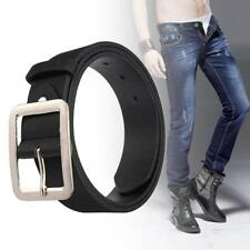 Casual Men's Faux Leather Belt Pin Belts Waistband Buckle Waist Strap Black MT