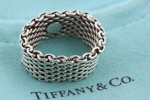 Tiffany & Co. Sterling Silver 925 10mm Wide Somerset Mesh Band Ring - Size 9