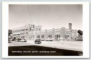 Glendive MT 1940s Cars @ Art Deco Northern Pacific Railroad Depot~RPPC Postcard