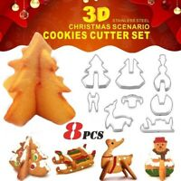 8pcs/set 3D Christmas Scenario Biscuit Cookie Cutter Mold DIY Cake Decor Mould